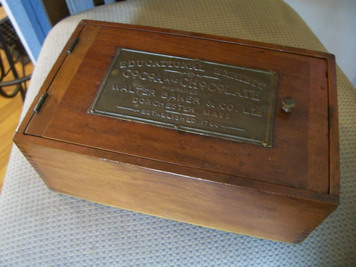 Walter Baker's Chocolate Exhibit Cocoa educational kit in a wood box.