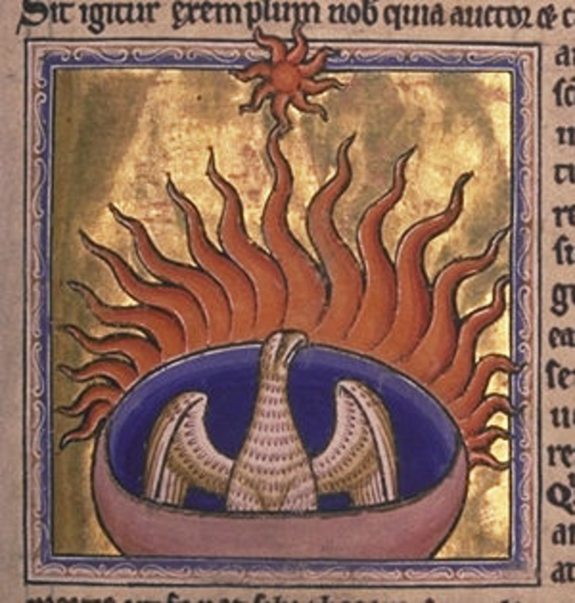 The phoenix - detail from the Aberdeen Bestiary.