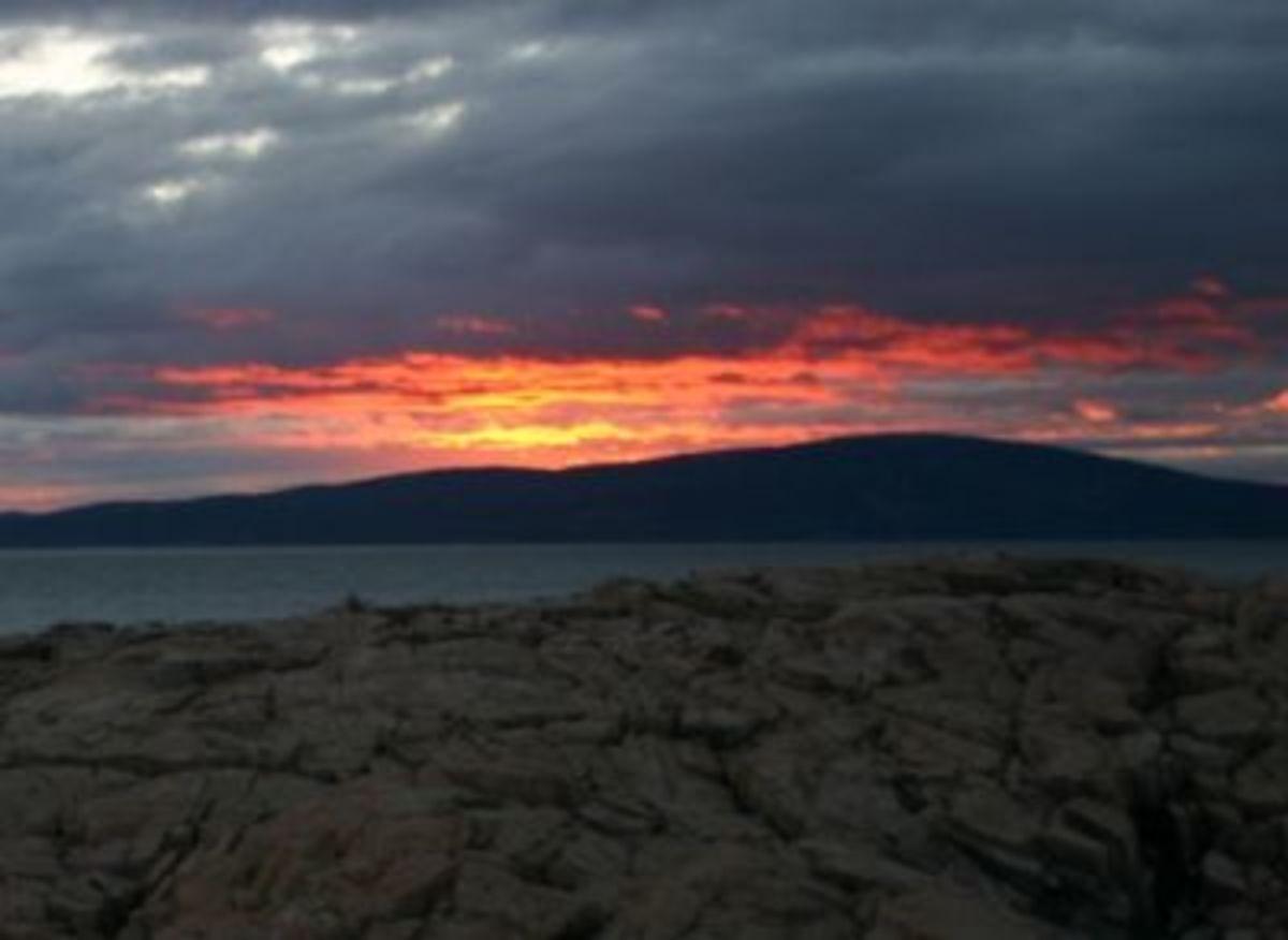 Sunset behind Cadillac Mountain, Acadia National Park