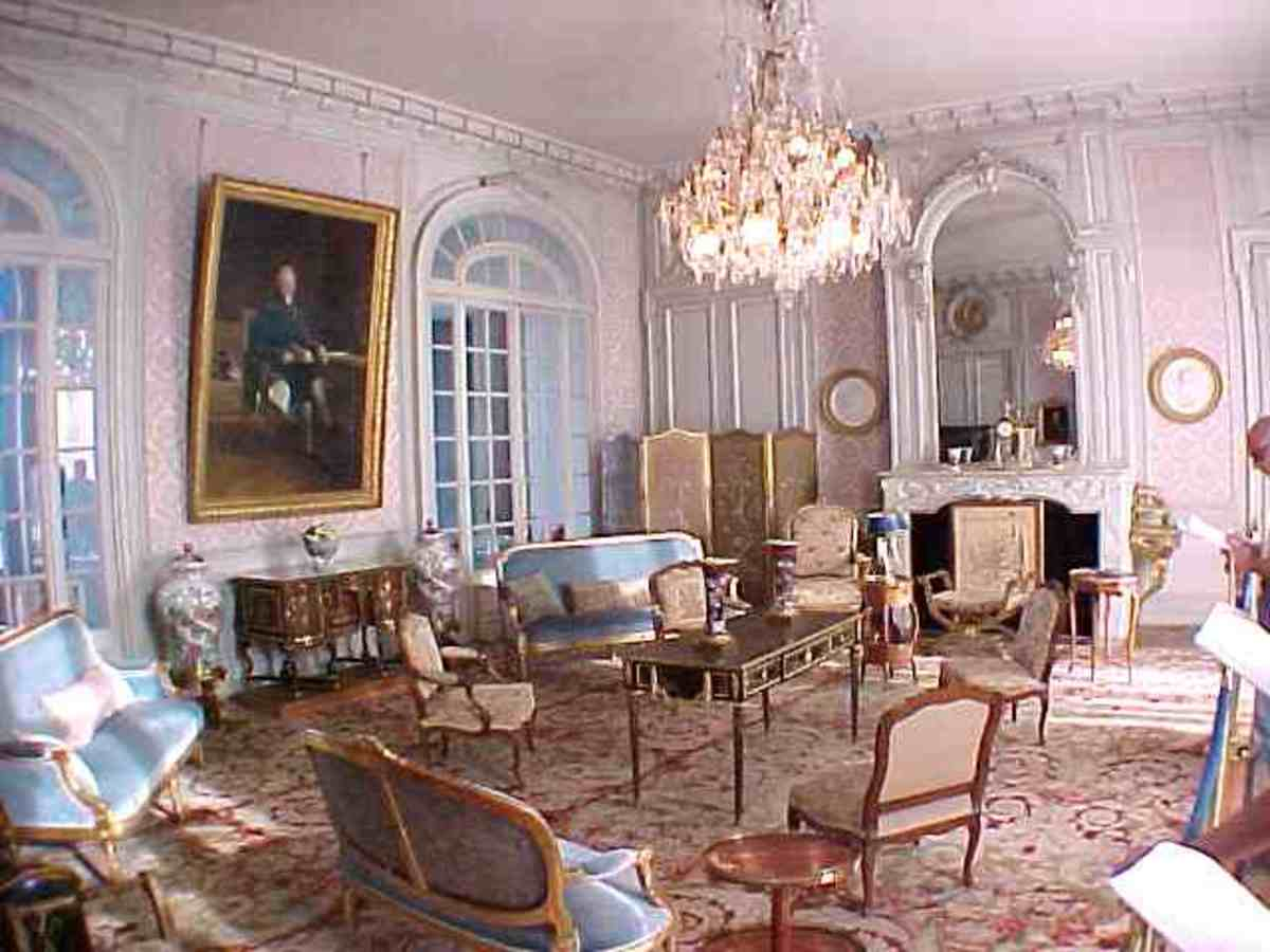 The Blue Salon.  Decorated with Louis XV and Louis XVI style chairs, porcelain vases from China and Japon