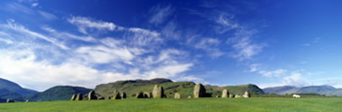 Stone Circle on a Landscape, Castlerigg Stone Circle, Keswick, Lake District, Cumbria, England, UK Photographic Print Panoramic Images 120 in. x 40 in.