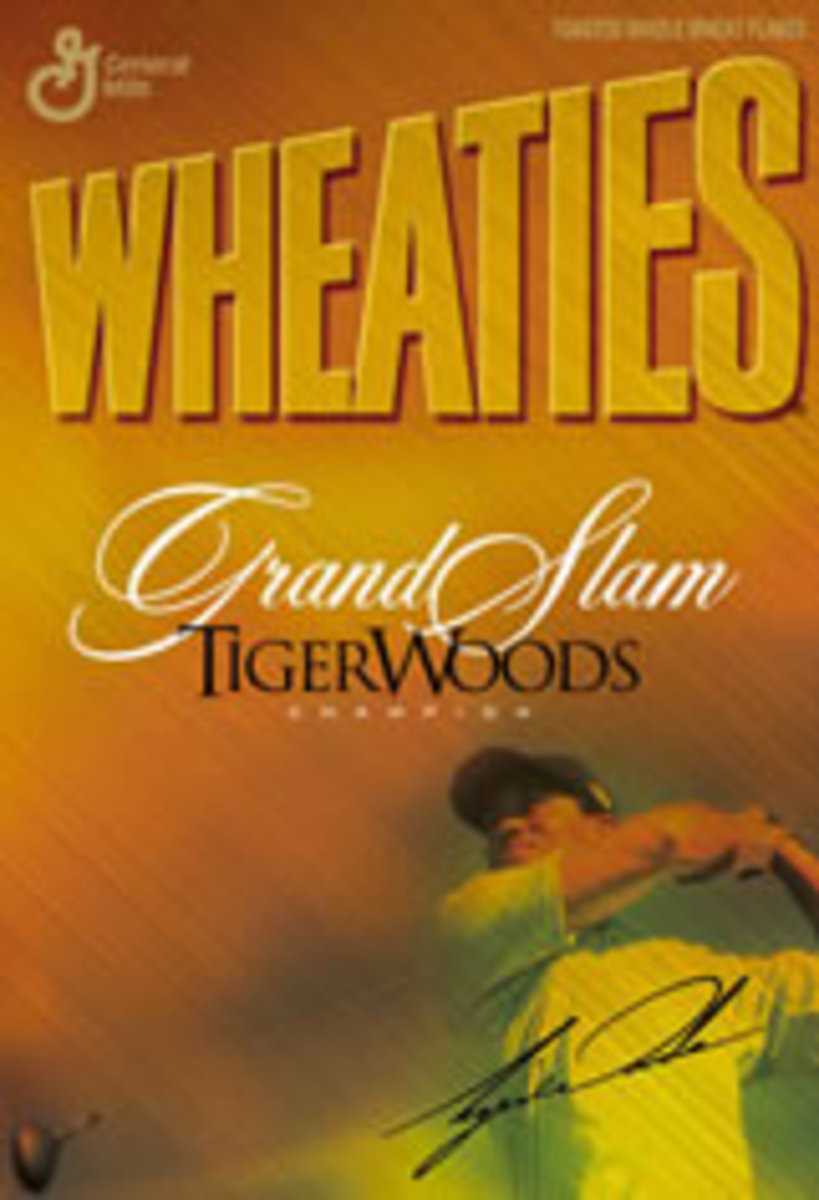 Tiger Woods appears on the cover of the Wheaties Box.