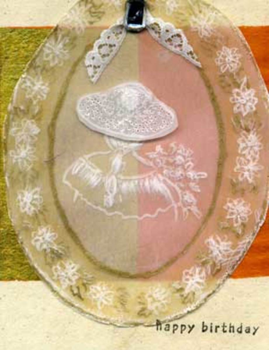 Parchment Craft Card Showing Old Fashioned Girl in Hat