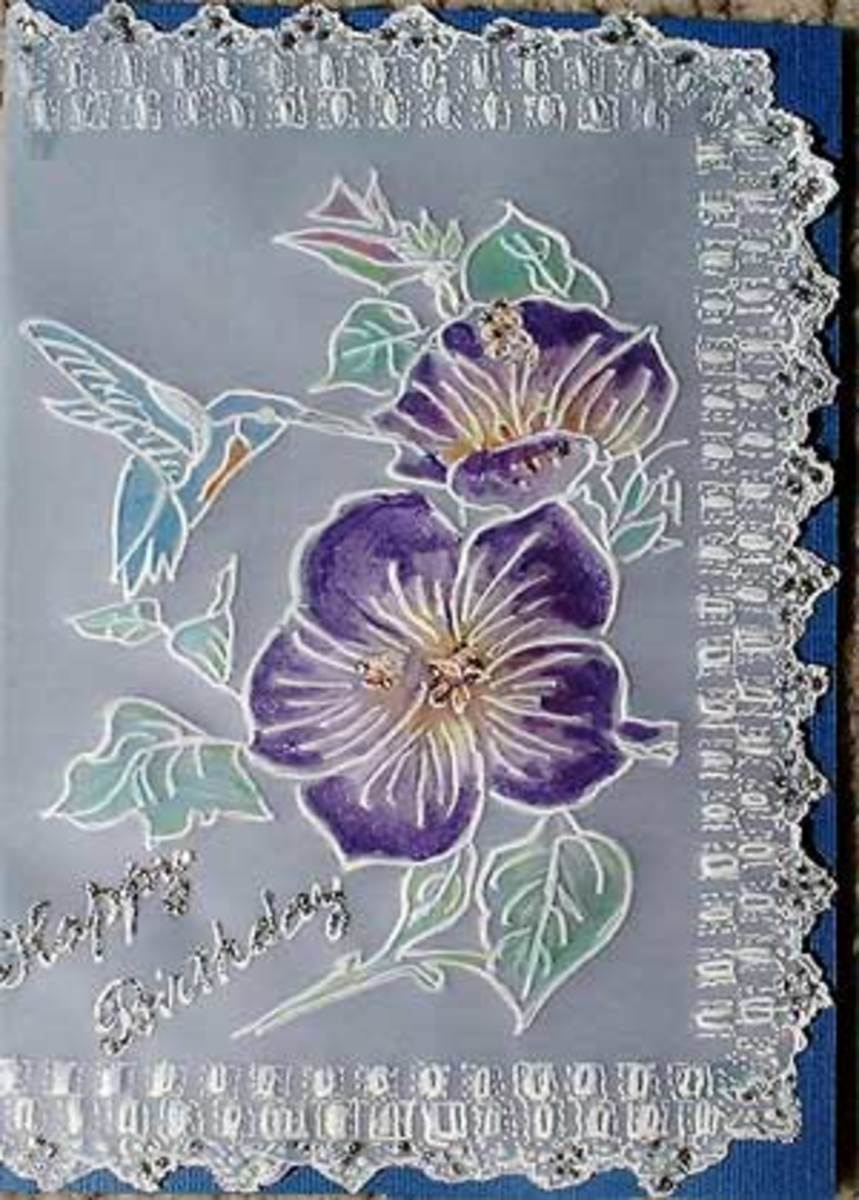 Pergamano Parchment Craft Birthday Card with : Morning Glory