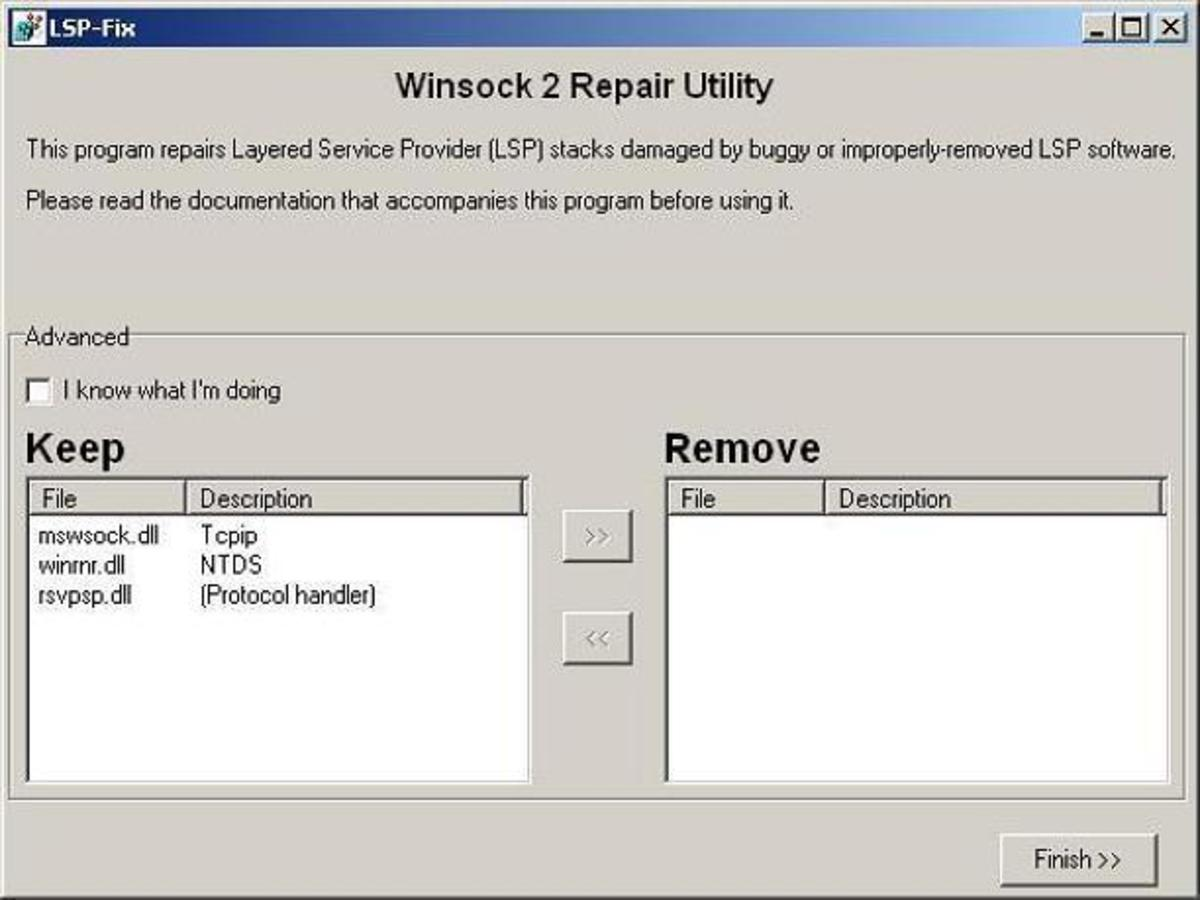 LSP Fix Winsock 2 Repair Utility