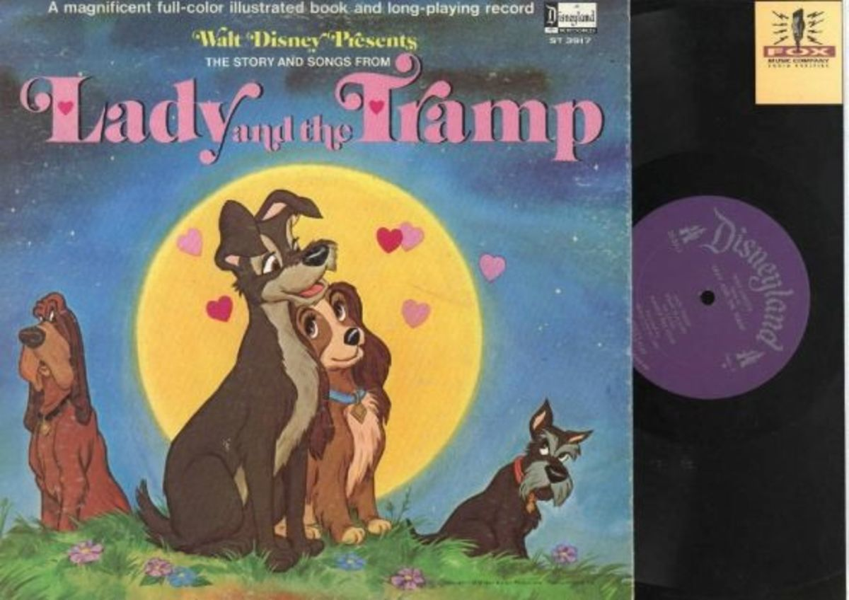 "Walt Disney's ""Lady and the Tramp"" Disneyland Records Storyteller ST-3907 12"" LP Vinyl Record (1980) Gatefold Cover w/ Illustrated Book"