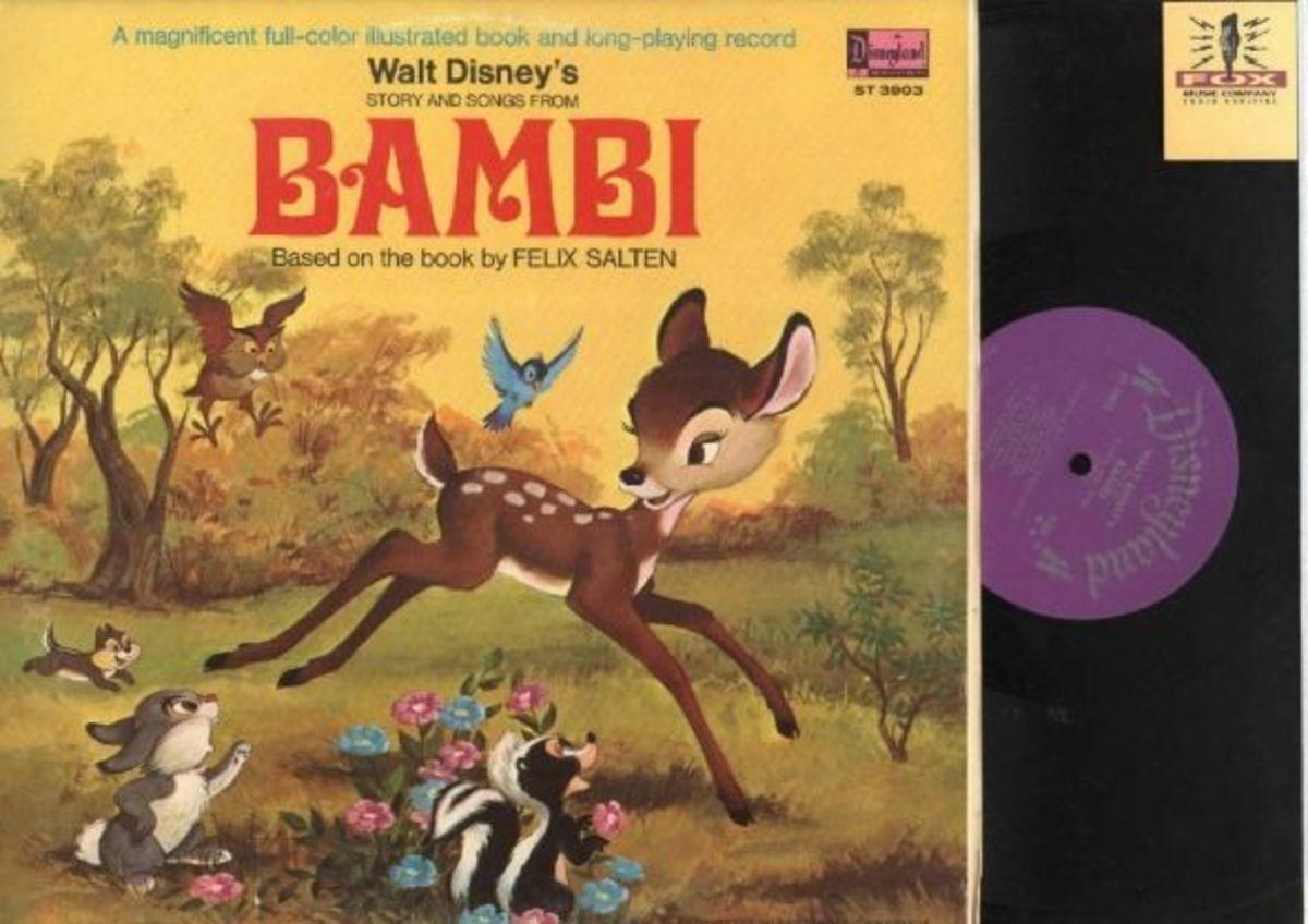 "Walt Disney's ""Bambi"" Disneyland Records Storyteller ST-3903 12"" LP Vinyl Record (1969) Gatefold Cover w/ Illustrated Book"