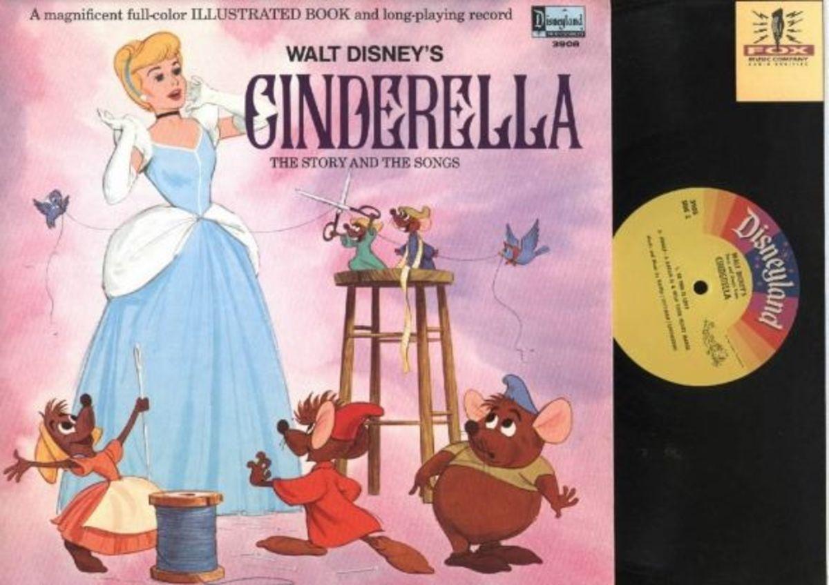 "Walt Disney's ""Cinderella"" Disneyland Records Storyteller ST-3908 12"" LP Vinyl Record (1960) Gatefold Cover w/ Illustrated Book"