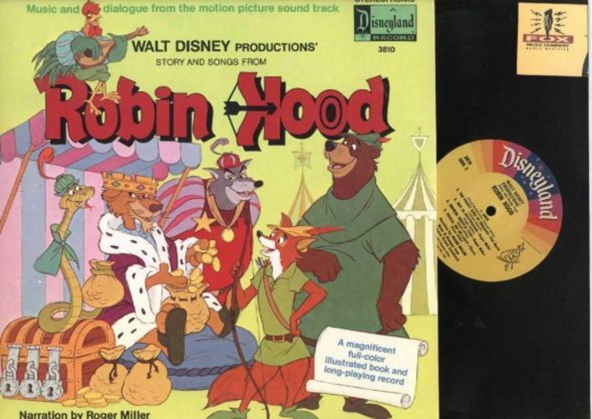 "Walt Disney ""Robin Hood"" Disneyland Records Storyteller ST-3810 12"" LP Vinyl Record (1973) Gatefold Cover w/ Illustrated Book"