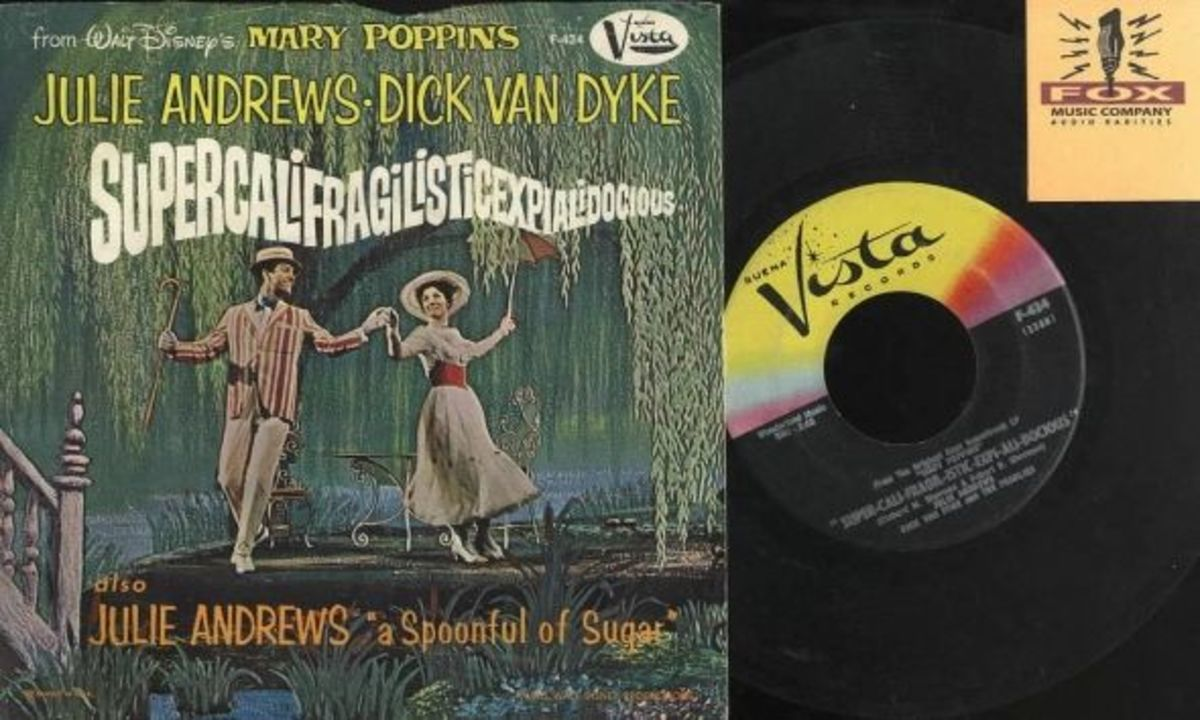 "Walt Disney's Mary Poppins ""Super-cali-fragil-istic-expi-ali-docious"" b/w ""Mary Poppins Song"" Buena Vista Records F-434 7"" Picture Sleeve Vinyl Record US Pressing (1964)"