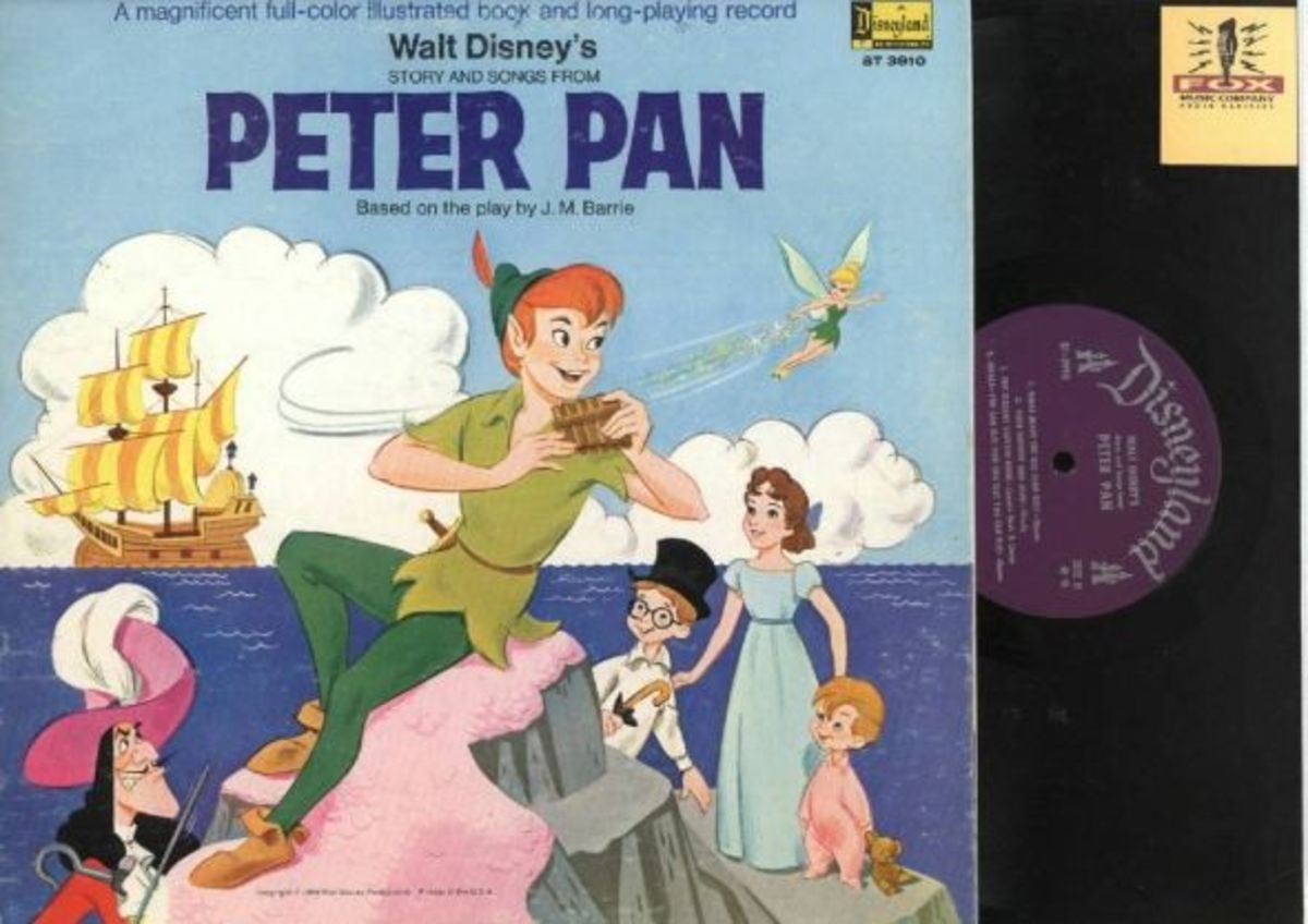 "Walt Disney's ""Peter Pan"" Disneyland Records Storyteller ST-3910 12"" LP Vinyl Record (1969) Gatefold Cover w/ Illustrated Book"