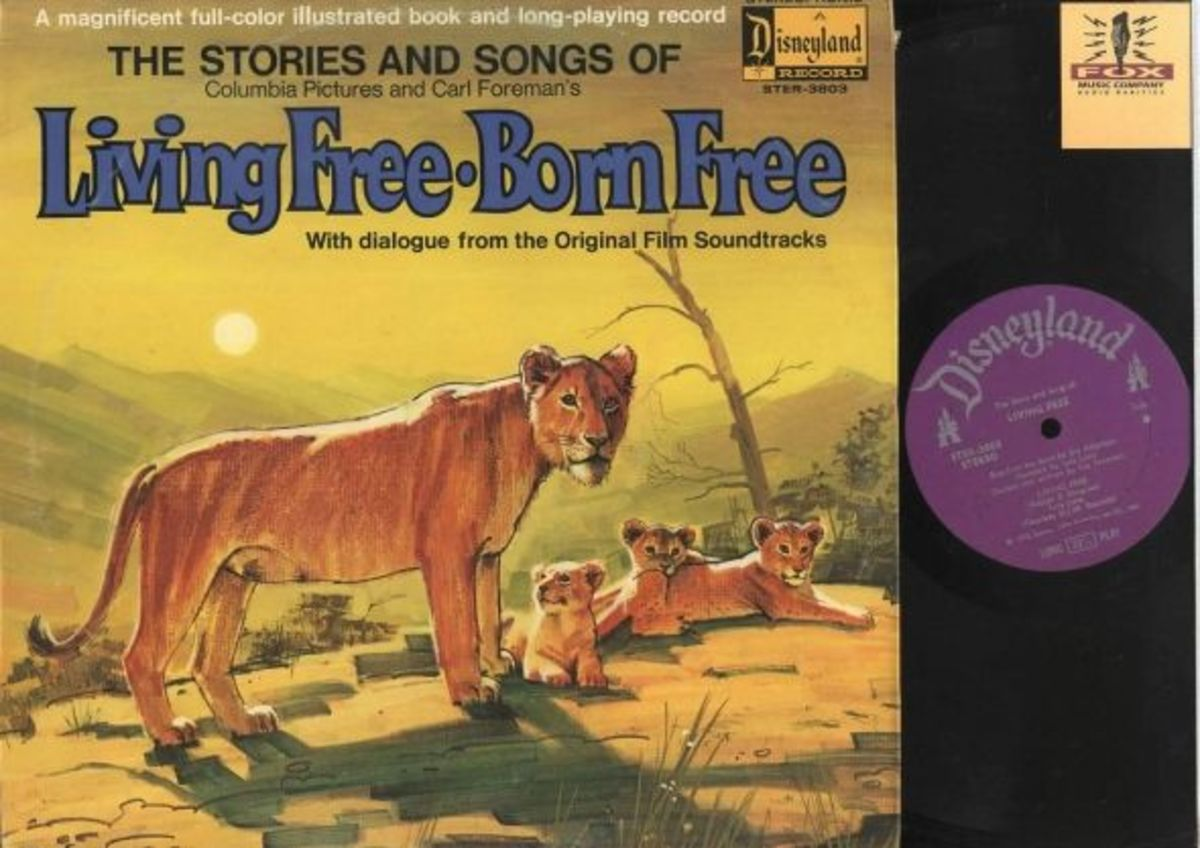 "The Stories and Songs of ""Living Free Born Free"" Disneyland Records Storyteller ST-3803 12"" LP Vinyl Record (1972) Gatefold Cover w/ Illustrated Book"