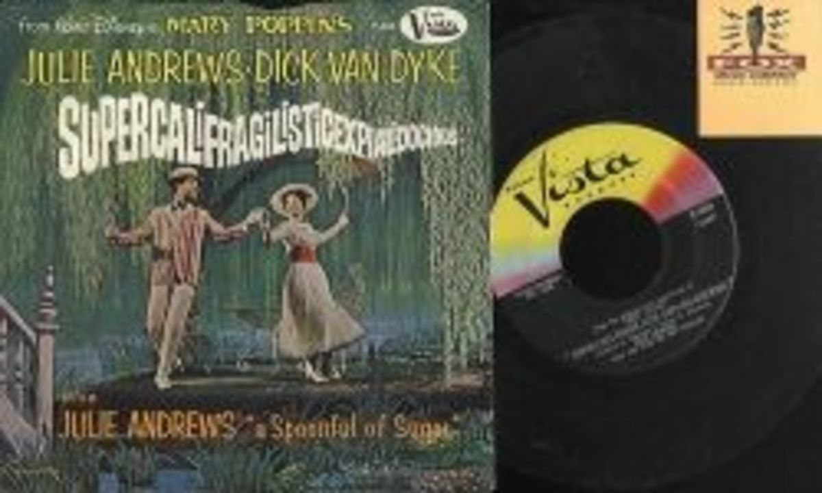 "Walt Disney's Mary Poppins ""Super-cali-fragil-istic-expi-ali-docious"" b/w ""Mary Poppins Song"" Buena Vista Records F-434 7"" Vinyl Record US Pressing (1964)"