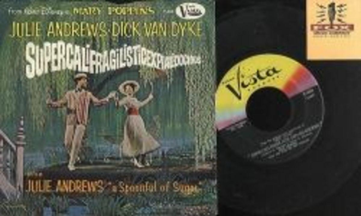"Walt Disney's Mary Poppins ""Super-cali-fragil-istic-expi-ali-docious"" b/w ""Mary Poppins Song"" Buena Vista Records F-434 7"" Vinyl Record US Pressing (1964)"