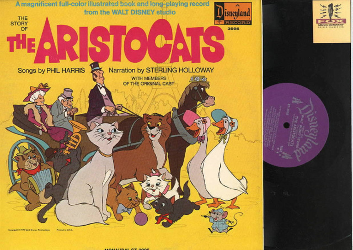 "Walt Disney ""The Aristocats"" Disneyland Records ST 3995 12"" LP Vinyl Record (1970) Gatefold Cover w/ Illustrated Book"