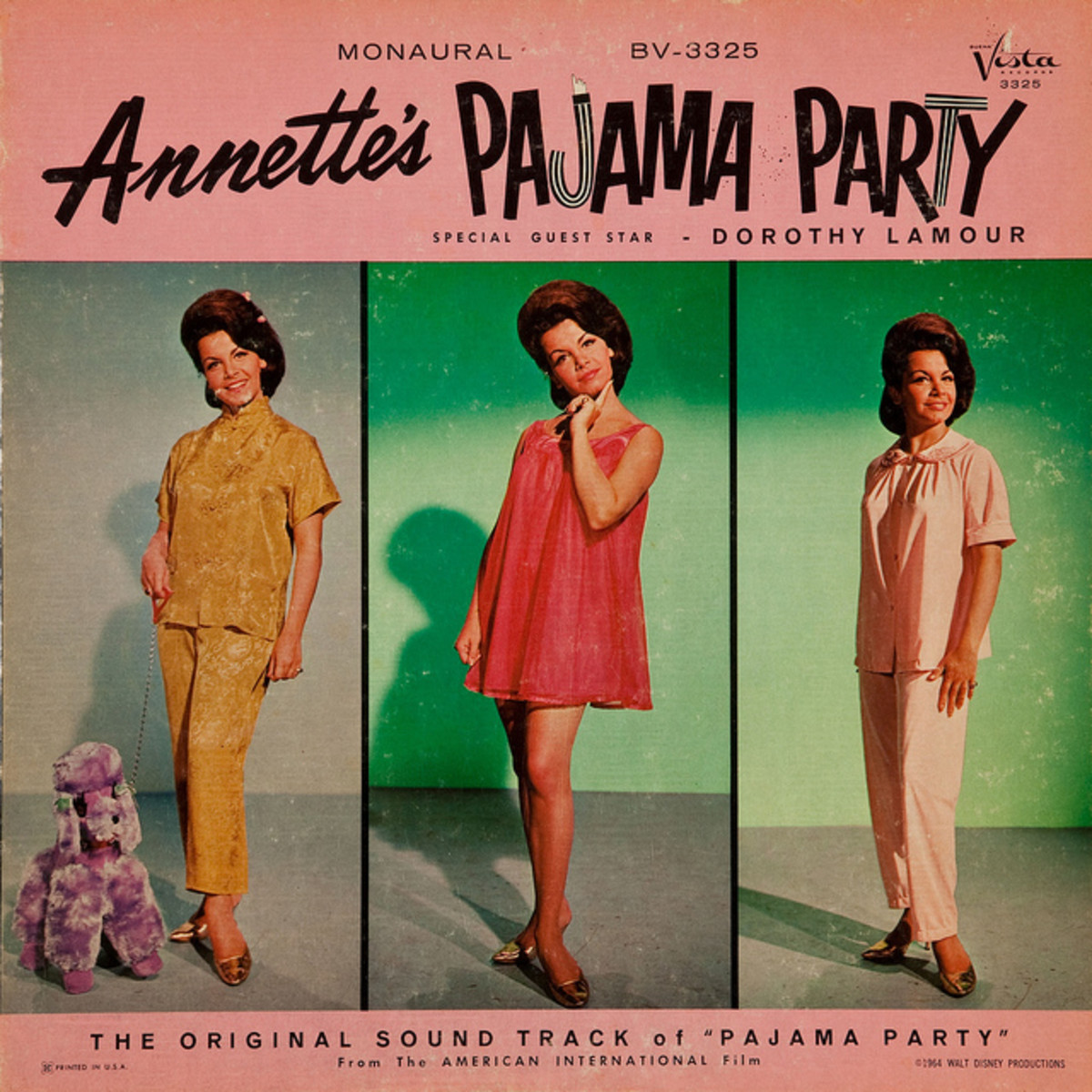 "Annette Funicello ""Annette's Pajama Party"" Beuna Vista Soundtrack BV 3325 12"" LP Vinyl Record, US Pressing (1964) Special Guest Dorothy Lamour"