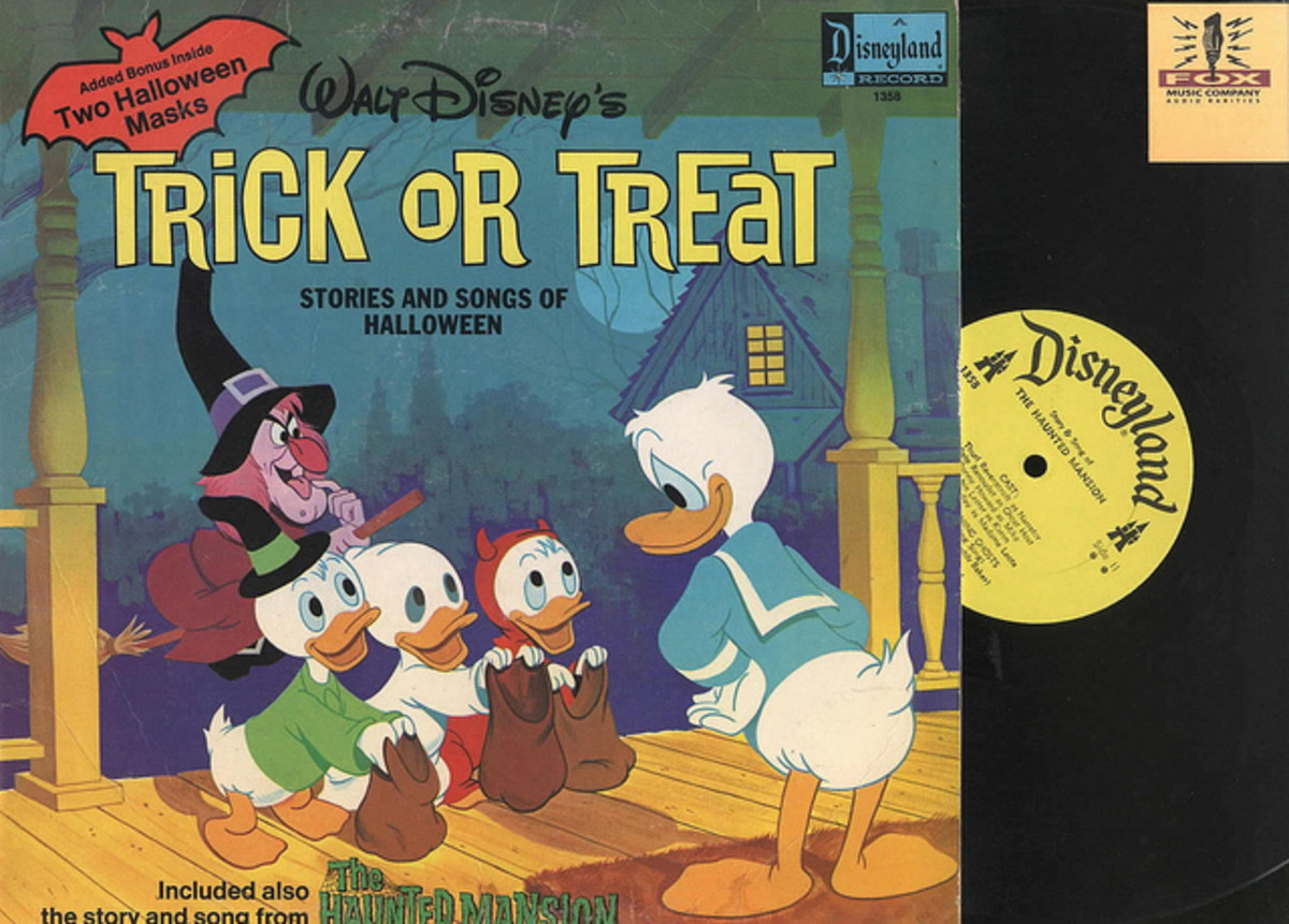"Donald Duck ""Trick-or-Treat: Stories and Songs of Halloween"" Disneyland Records 1358 12"" Vinyl Record with Two Halloween Masks"
