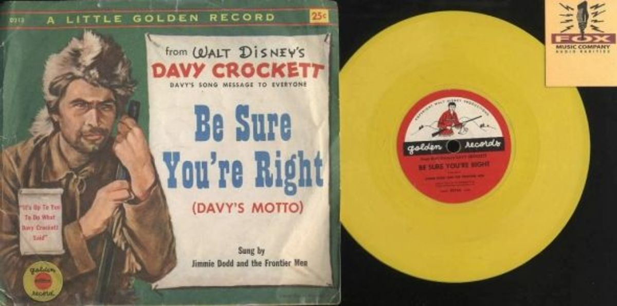 Walt Disney's Davy Crockett Be sure You're Right Golden Records D213 Yellow Vinyl Walt Disney Childrens Record