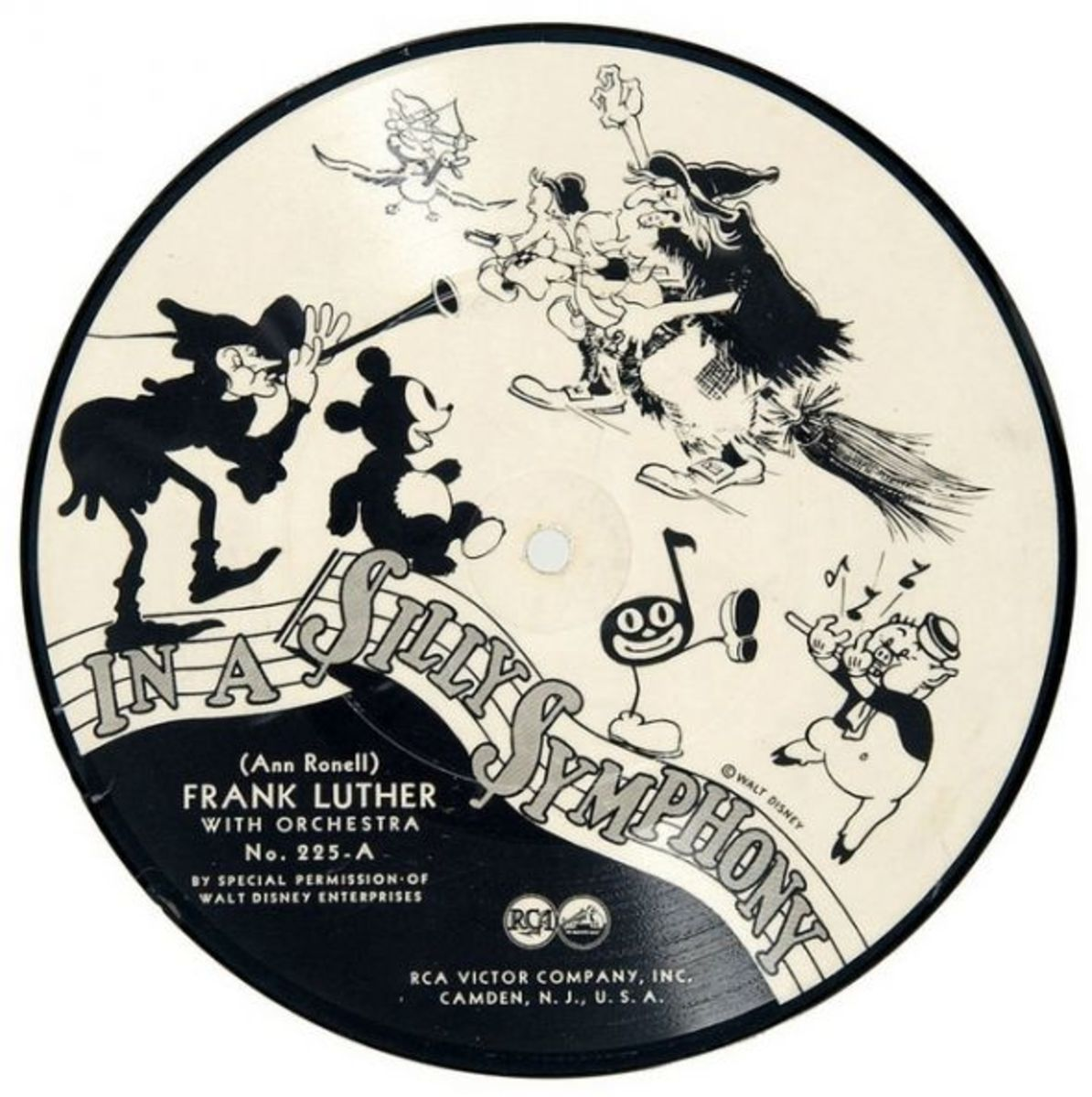 "Frank Luther and His Orchestra ""In A Silly Symphony"" RCA Victor 225-A 7"" 78 rpm Shellac Record Silly Symphony Frank Luther with Orchestra RCA Victor Company 225-A"