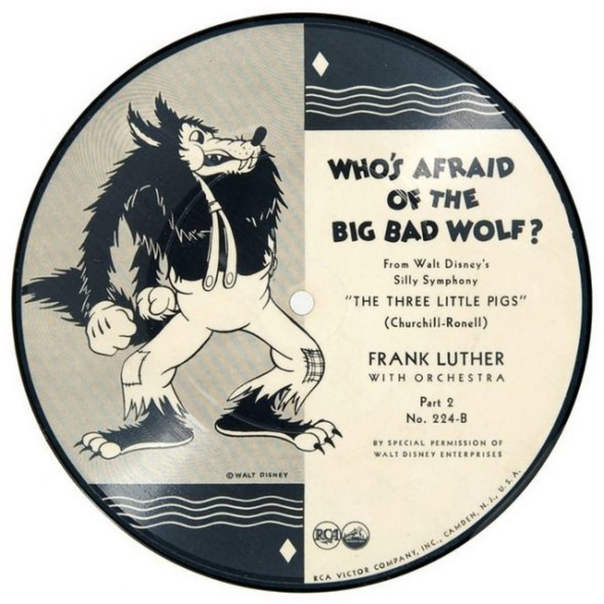"Frank Luther and His Orchestra Walt Disney Silly Symphony ""The Three Little Pigs"" b/w ""Who's Afraid of the Big Bad Wolf?"" RCA Victor 224-B Part 2 7"" 78 rpm Shellac Record"