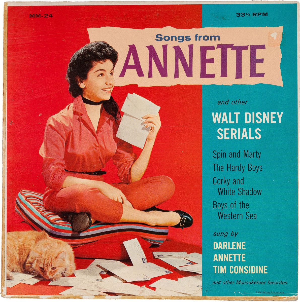 "Songs From Annette And Other Walt Disney Serials Walt Disney Productions MM 24  7"" EP 33 1/3 rpm Vinyl Record (1958)"