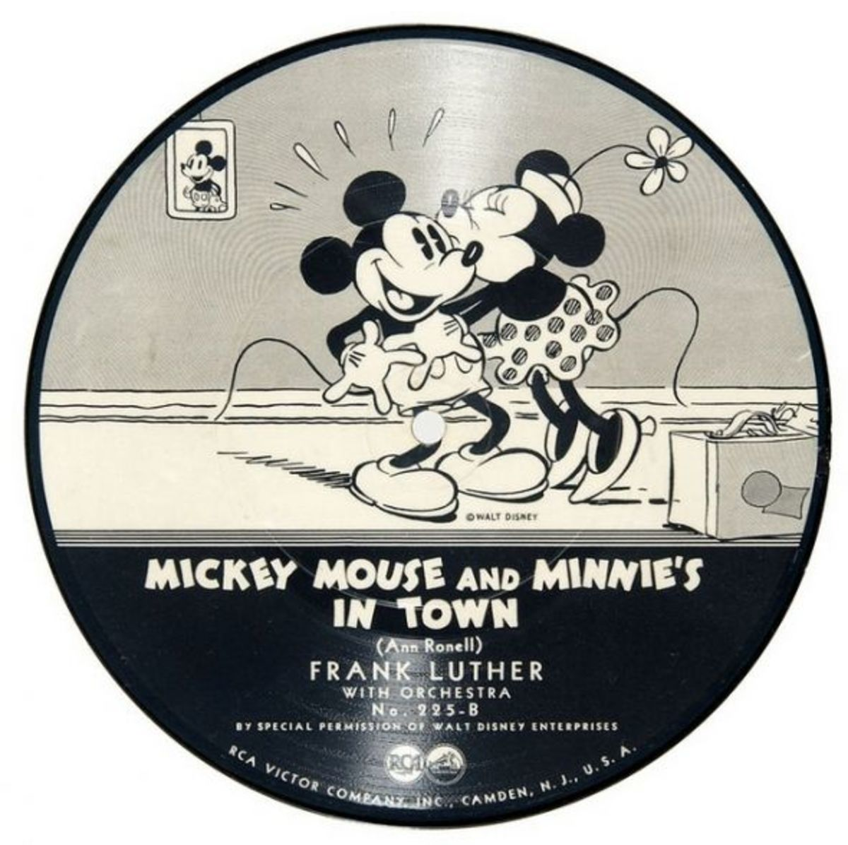 "Frank Luther and His Orchestra ""Mickey Mouse and Minnie's Mouse In Town"" RCA Victor 225 B 7"" 78 rpm Shellac Record Silly Symphony"
