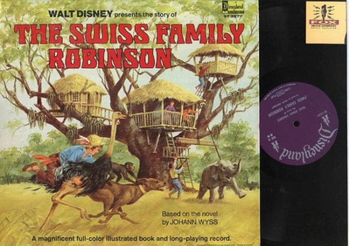 "Walt Disney Presents ""The Swiss Family Robinson"" Disneyland Records Storyteller ST-3977 12"" LP Vinyl Record (1968) Gatefold Cover w/ Illustrated Book"