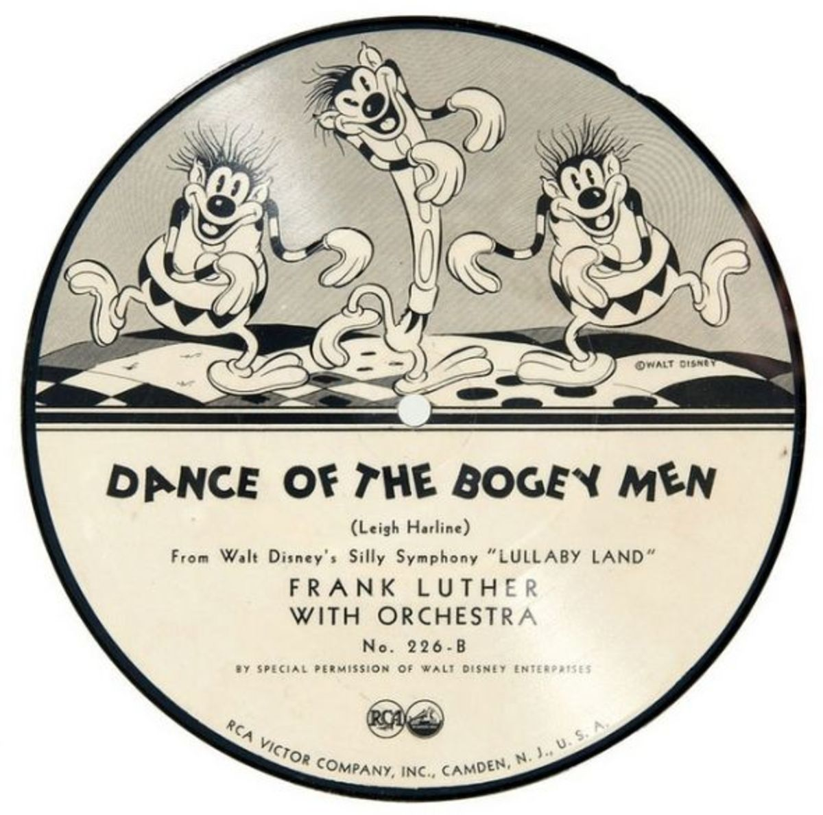 "Frank Luther and His Orchestra Silly Symphony Lullaby Land ""Dance of the Bogey Men"" RCA Victor 226-B  7"" 78 rpm Shellac Record"