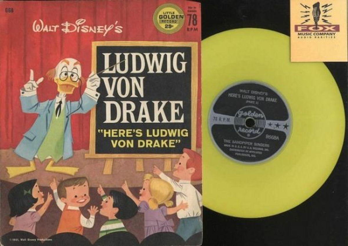 "Walt Disney's ""Ludwig Von Drake""  Golden Records R668 78 rpm Yellow Vinyl Record"
