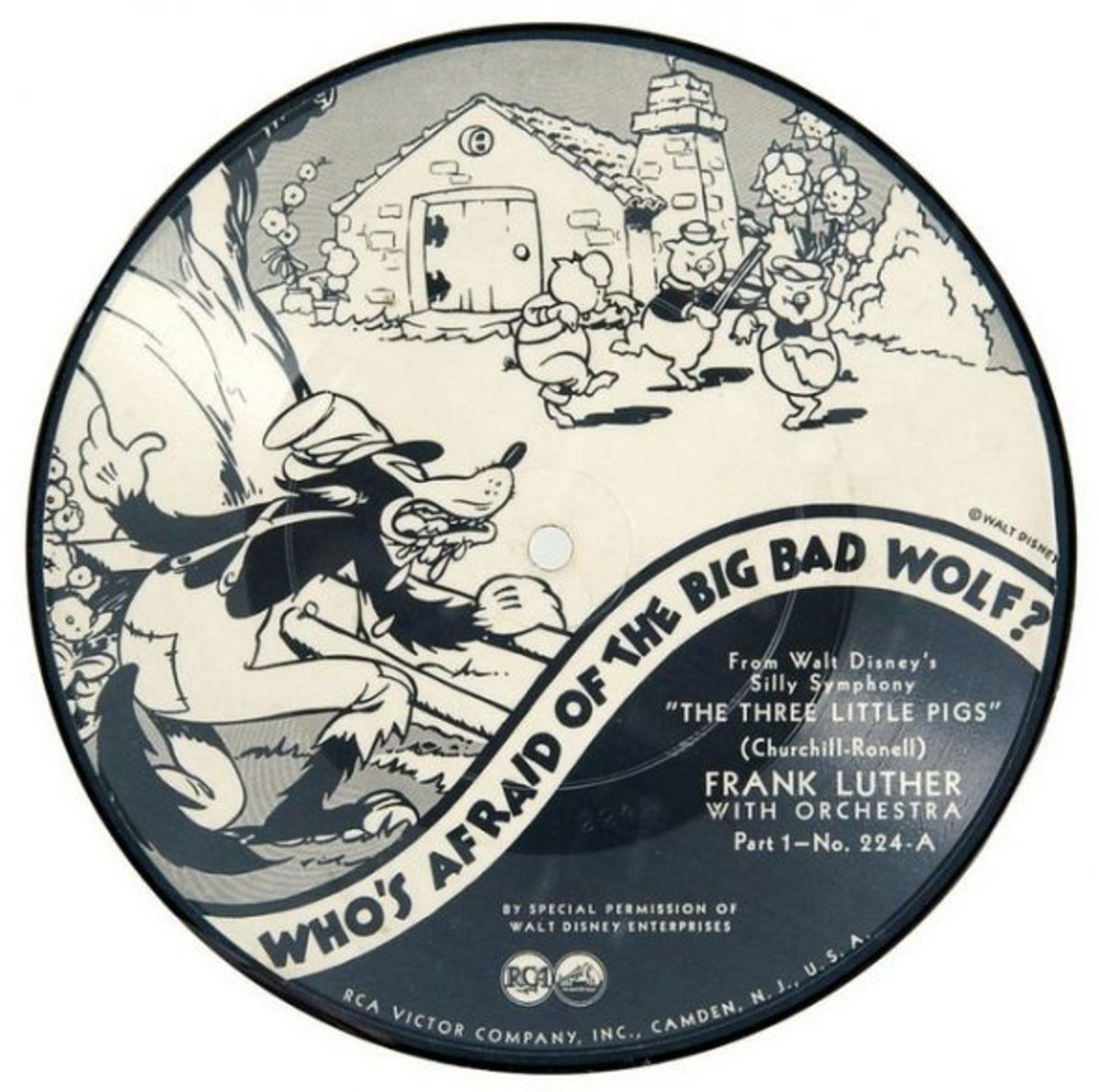 "Frank Luther and His Orchestra Walt Disney Silly Symphony ""The Three Little Pigs"" b/w ""Who's Afraid of the Big Bad Wolf?"" RCA Victor 224-A Part 1 7""  78 rpm Shellac Record"