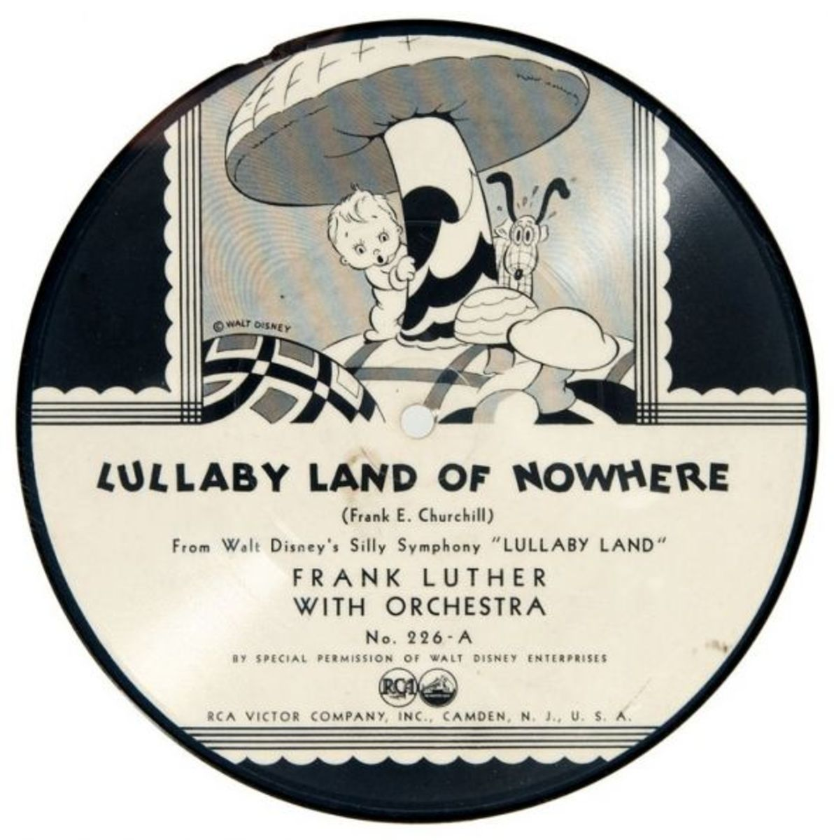 "Frank Luther and His Orchestra Silly Symphony Lullaby Land ""Lullaby Land of Nowhere"" RCA Victor 226-A  7"" 78 rpm Shellac Record 1934"