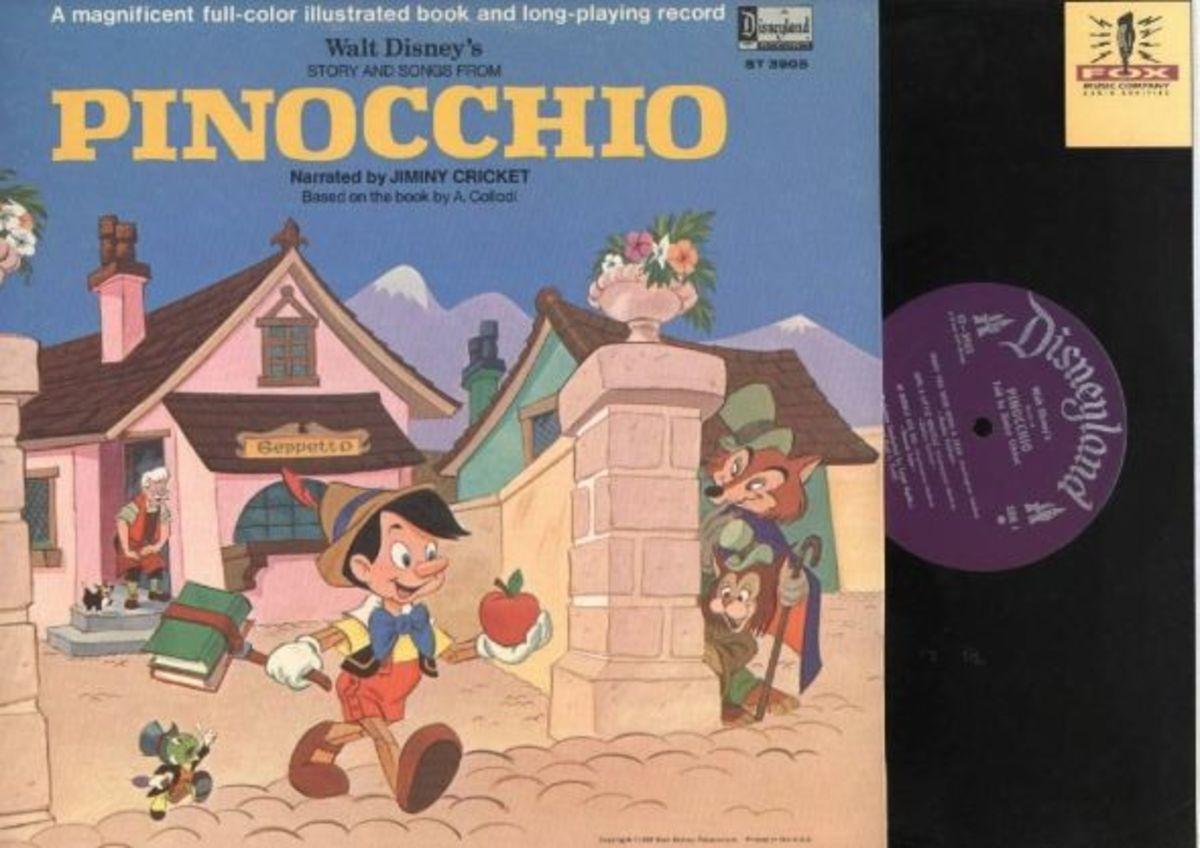 "Walt Disney's ""Pinocchio"" Disneyland Records Storyteller ST-3905 12"" LP Vinyl Record (1969) Gatefold Cover w/ Illustrated Book"