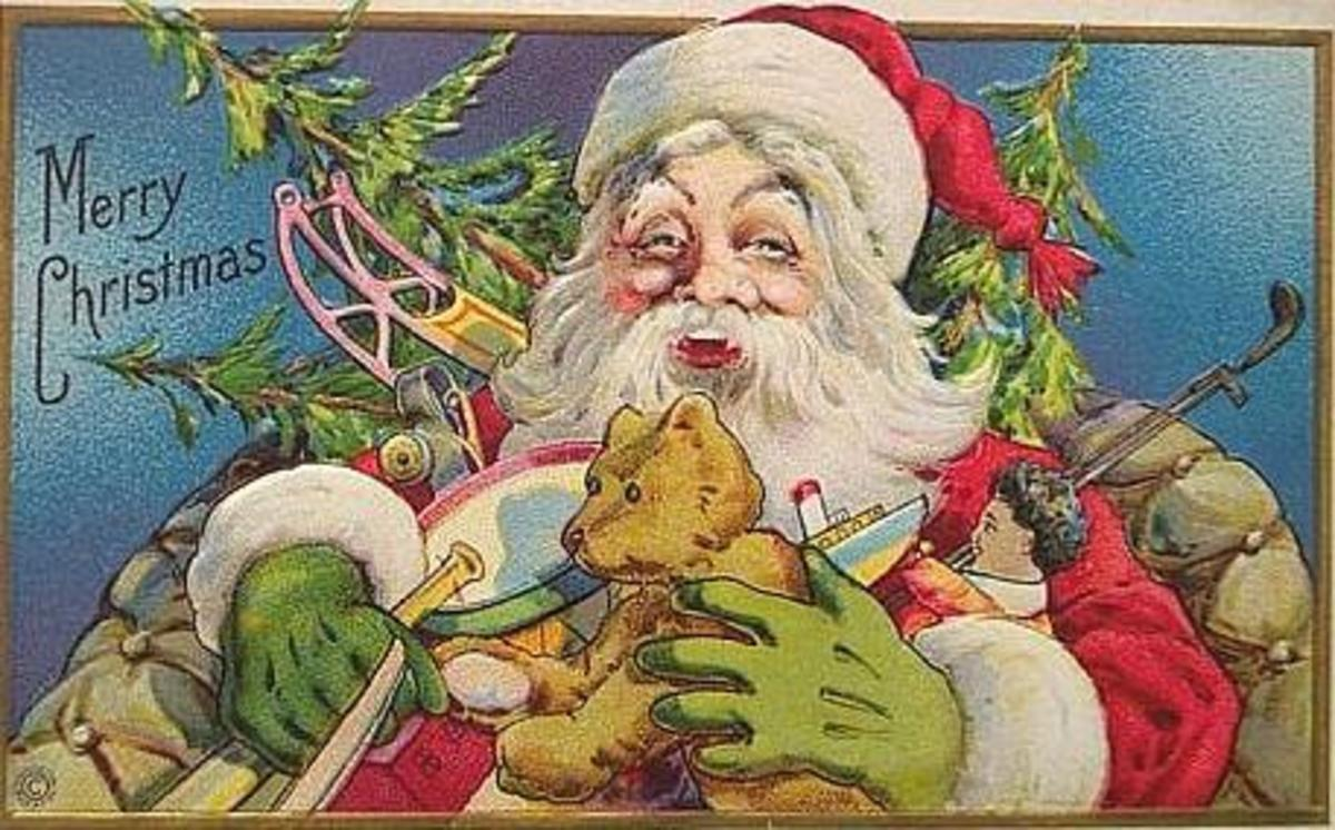 Vintage Santa graphics: Santa and his toy bounty