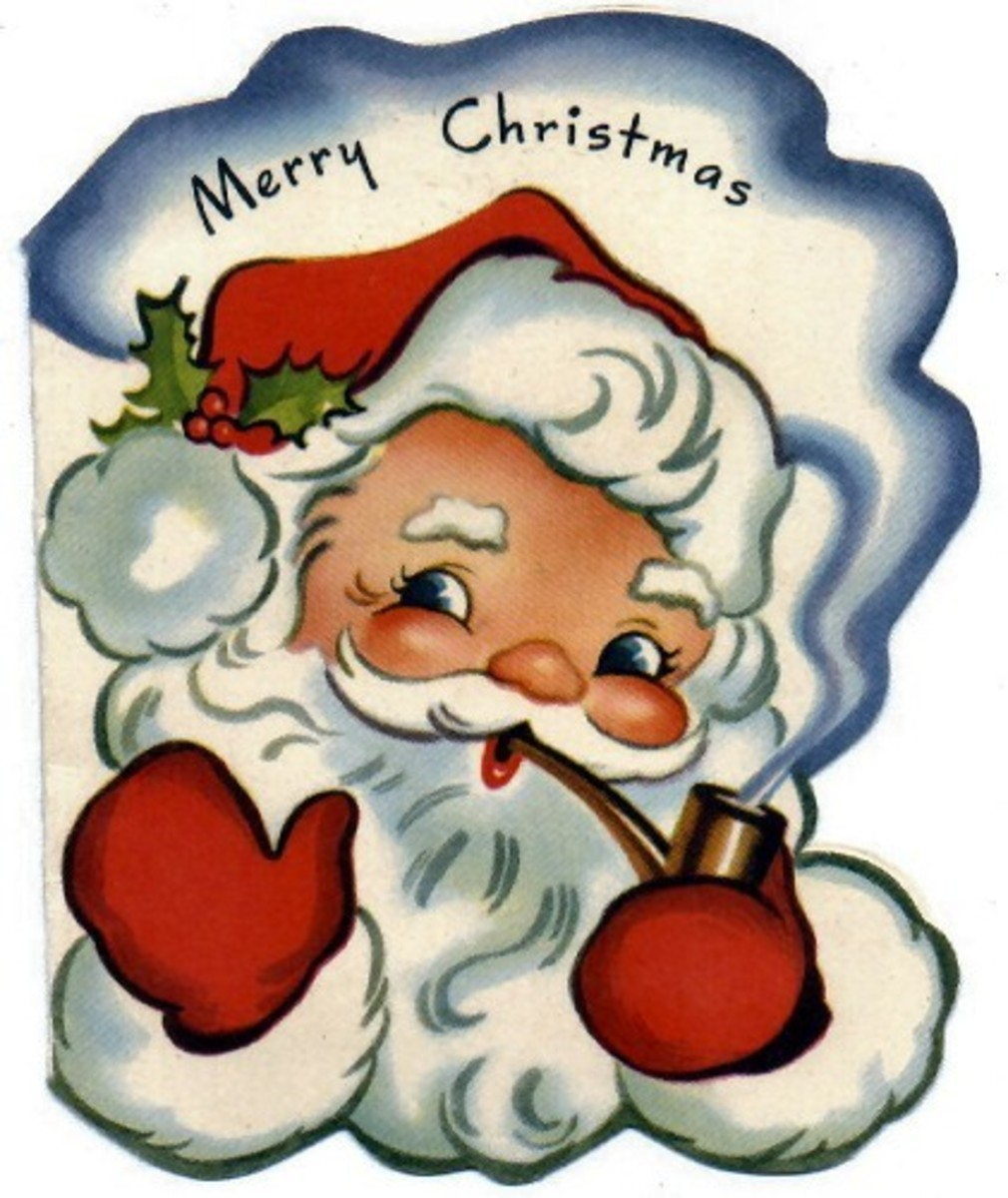Vintage Santa graphics: a retro Santa and his pipe
