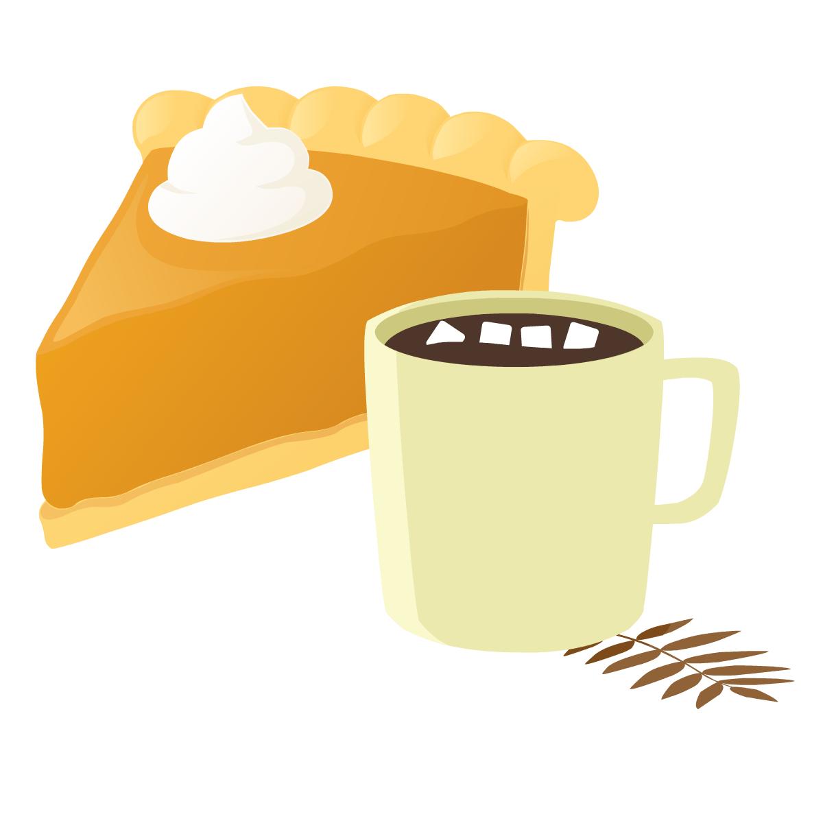 Pumpkin pie and hot chocolate clip art