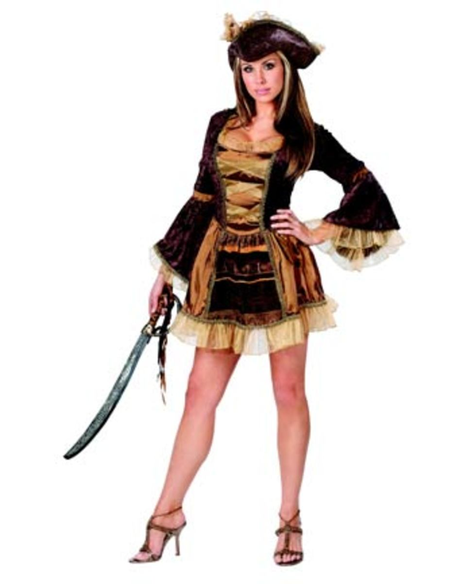 This Sassy Victorian Pirate Costume features a brown crushed velvet dress with sheer gold ruffle trim