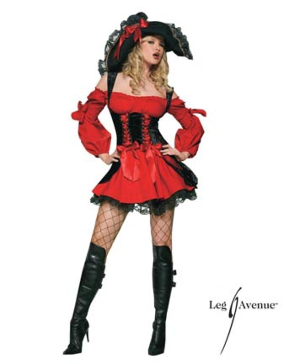 The Vixen Pirate Wench costume features a black and red double lace up corset dress.