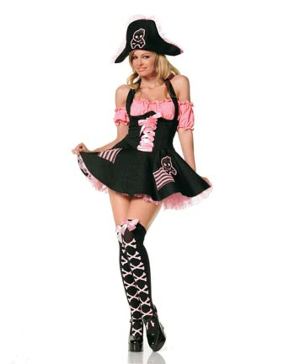 You'll take to the high seas in high fashion with this Pink and Black Pirate Costume