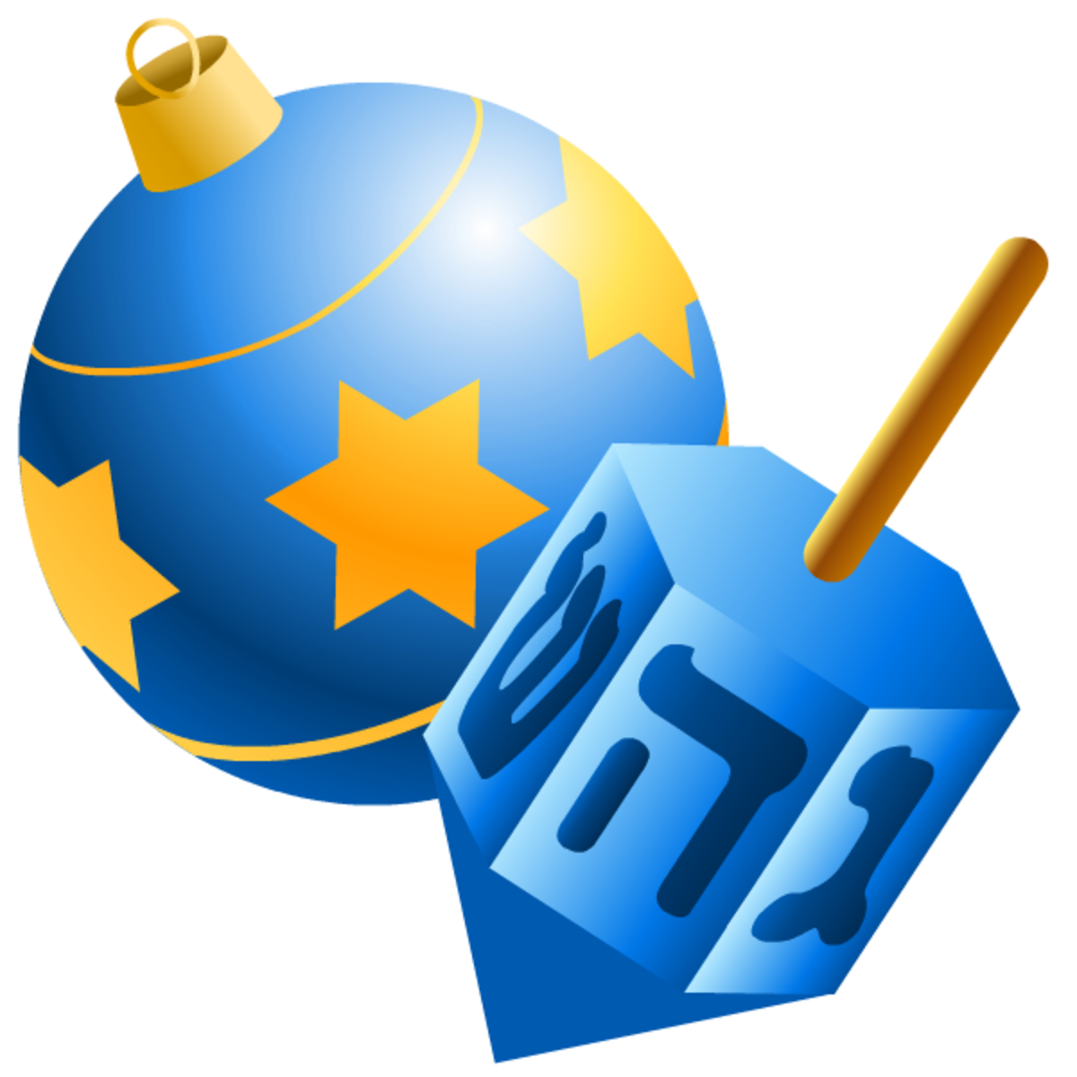 Hanukkah symbols: ornament and dreidel