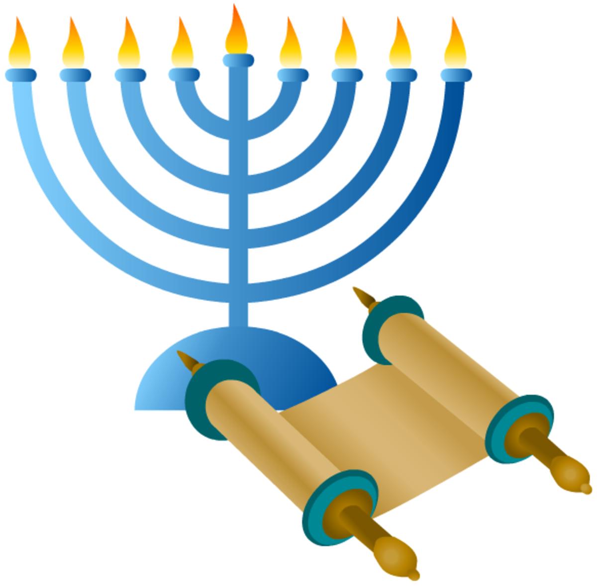 Hanukkah symbols: menorah and Torah