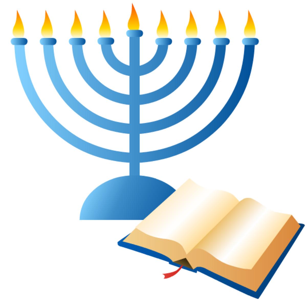 Hanukkah symbols: menorah and holy book