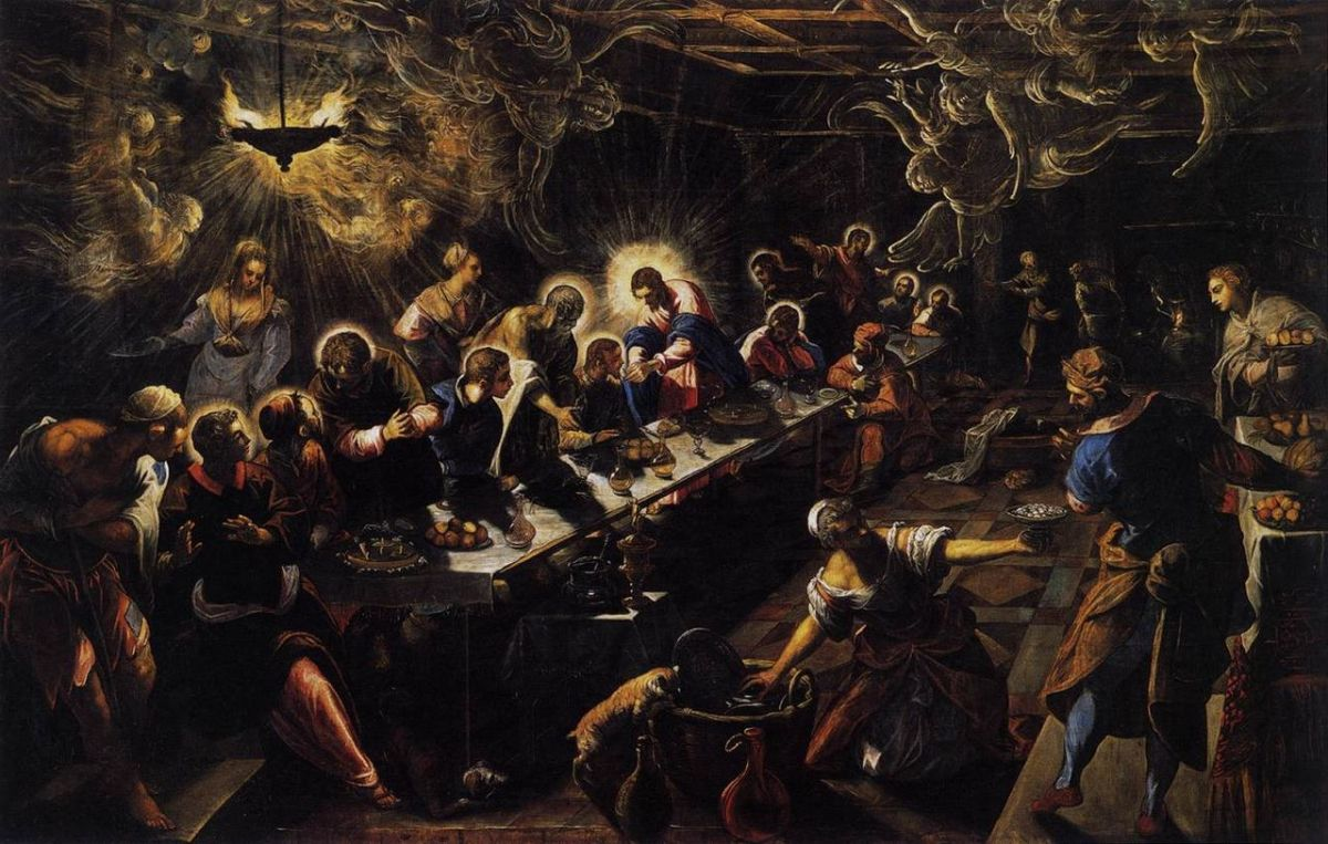 Jacopo Tintoretto painted The Last Supper circa 1592.