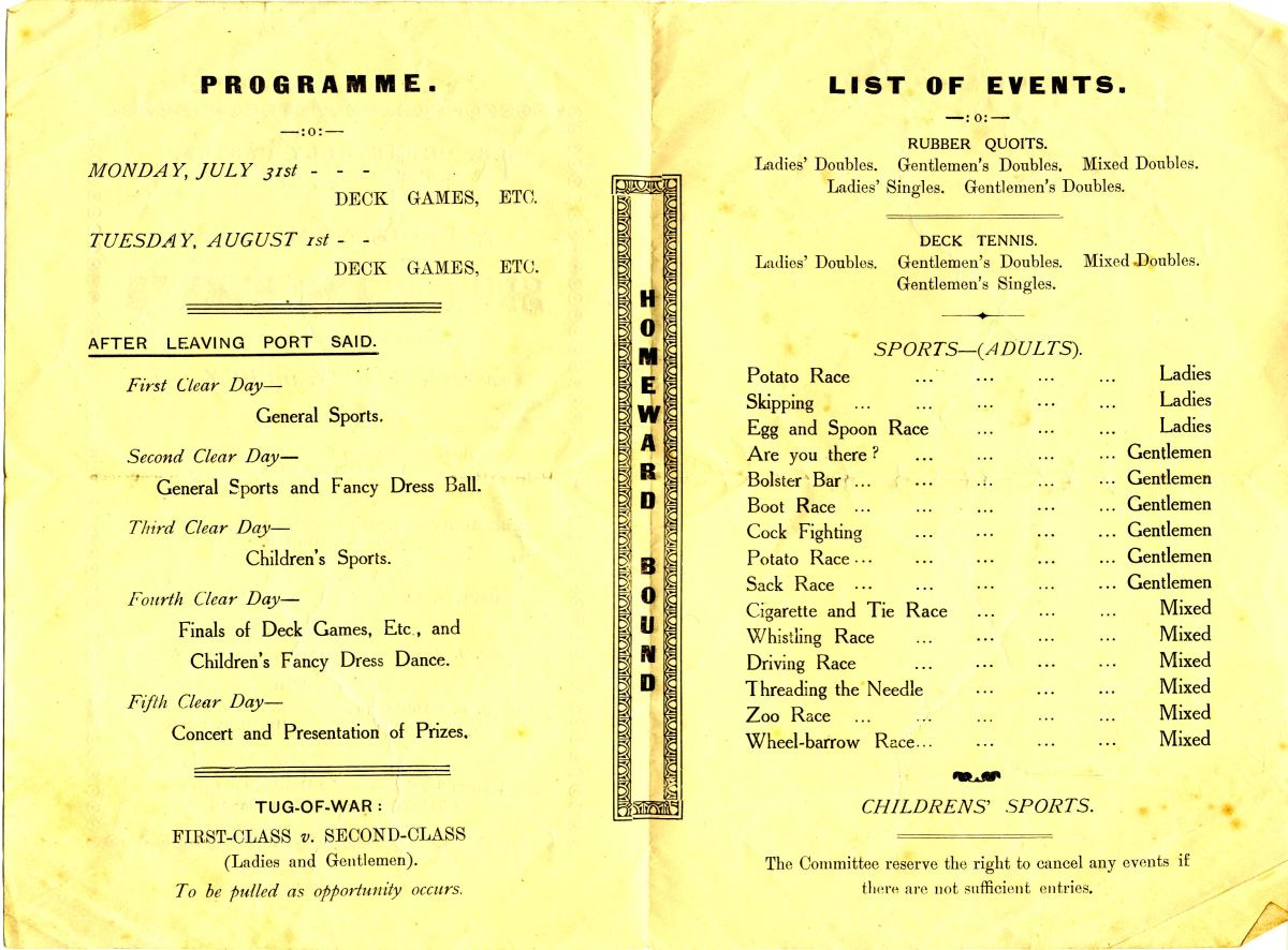 The Bishop Gwynne listed in the passenger list and shown as the Vice President on the programme cover above, was Llewellyn Henry Gwynn, CBG, CBE, who was at the time Lord Bishop of Egypt and the Soudan (sic).