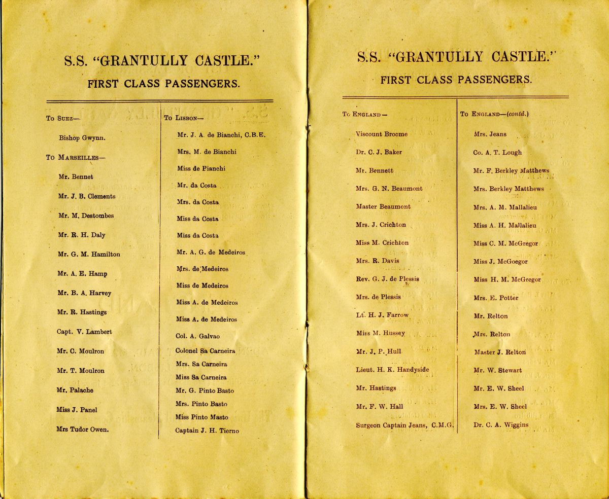 The list of First Class passengers. The Du Plessis' names are in the third column from the left.
