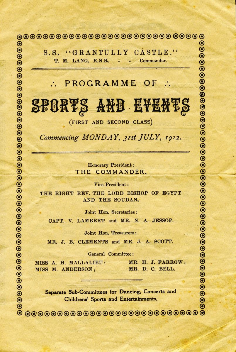 The passengers evidently had a lot of fun on the voyage, as shown by the Programme of Sports and Events