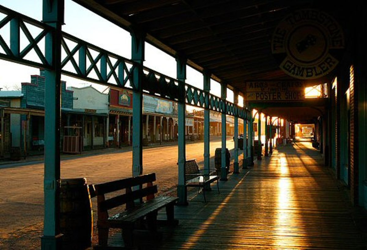 Tombstone Arizona. The Ghosts Of Cowboys Are Seen Often In This Area. It is near Sundown in this photo. Will the ghosts soon be walking down the street here.