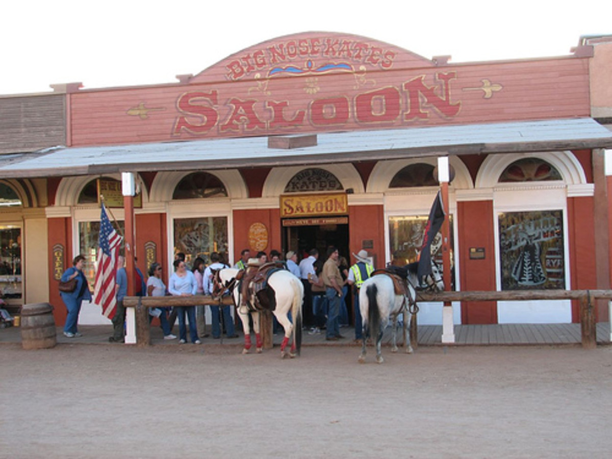 Big Nose Kate's Saloon where ghosts are still said to roam the location. Big Nose Kate is often seen on the front porch.