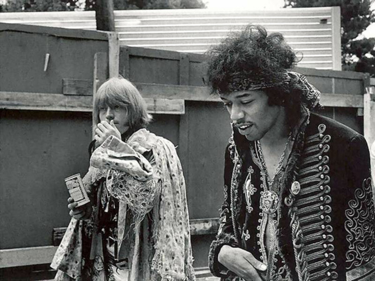 Brian Jones and Jimi Hendrix at the Monterey Pop Festival in June of 1967. Jones died in 1969 and Hendrix in 1970.Janis Joplin and Jim Morrisson also played in this concert dubbed as the beginnings of the Summer of Love