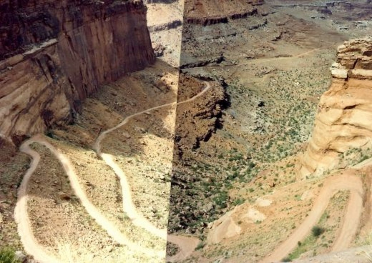 Two photos pieced together showing the switchback roads we had traveled in Canyonlands National Park.