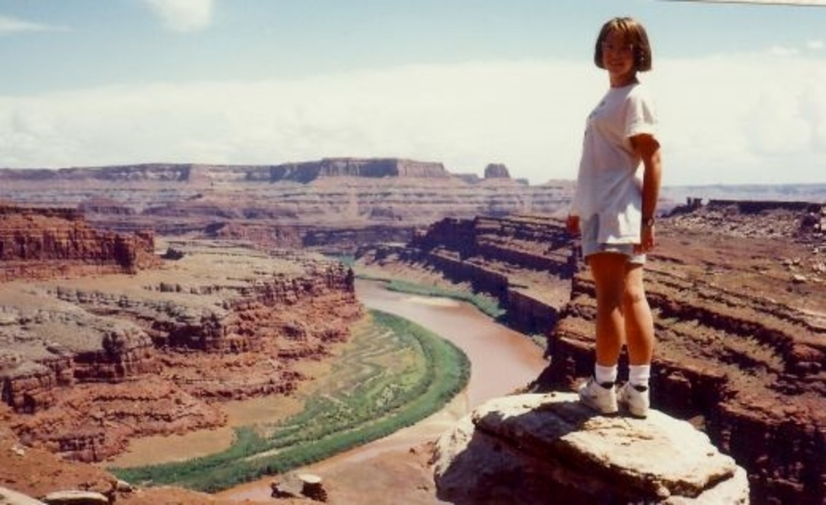 My niece at the Pyramid Point vista in Canyonlands National Park